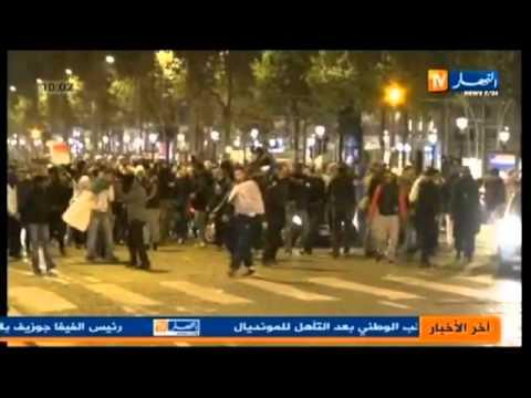 النشرة الإخبارية الثانية تشاهدون فيها قوات الأمن الفرنسية تقمع احتفالات الجالية الجزائرية عقب التأهل