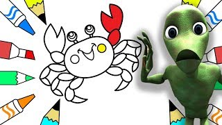 Funny Alien Dance | How to Draw a Crab Coloring Pages | Learn Drawing for Childrens