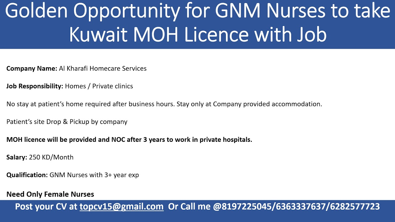 Golden Opportunity for GNM Nurses to take Kuwait MOH Licence with Job