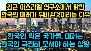 """최근 이스라엘 연구소에서 발표한 한국의 미래가 뒤바뀔것이라는 이유, """"한국인 막은 국가들은 이제 한국인 극진히 모셔야하는 상황"""""""