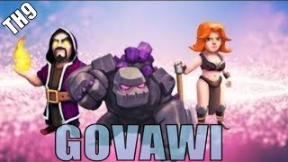 Ultimate GoVaWi Th9 Attack | 3 Starring Popular Internet Base w/Golem Valkyrie & Wizards Th9 Attack