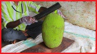 FRUIT NINJA of RAW JACKFRUIT   Amazing Jackfruit Fruits Cutting Skills   Indian Street Food In 2018