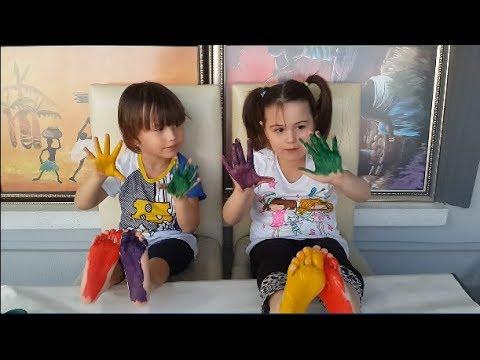 Bebek Ayak Ve El Boyası Ile Renk öğreniyoruz çocuk Parmak Aile şarkısı