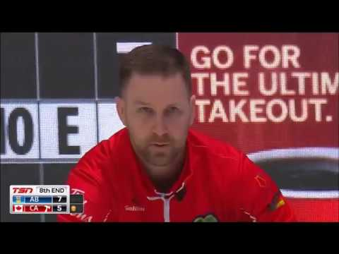 2018 Brier. Two great shots by Brad Gushue (Tap for 3 & In-off for 2)