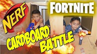 Cardboard Fort | cardboard fortnite | box fort kids battling with nerf guns !!! lots of fun