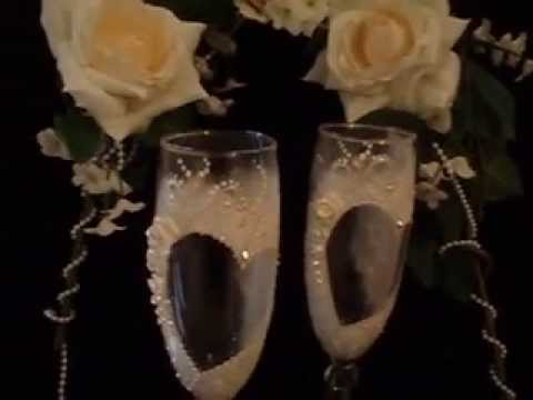Hand painted Wedding glasses, toasting flutes