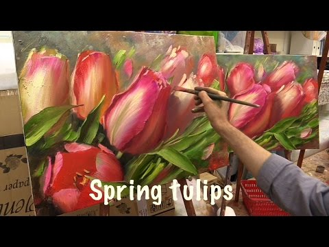 Spring Tulips. Workshop with two canvas.Workshop  in English from Oleg Buiko. Oil painting.