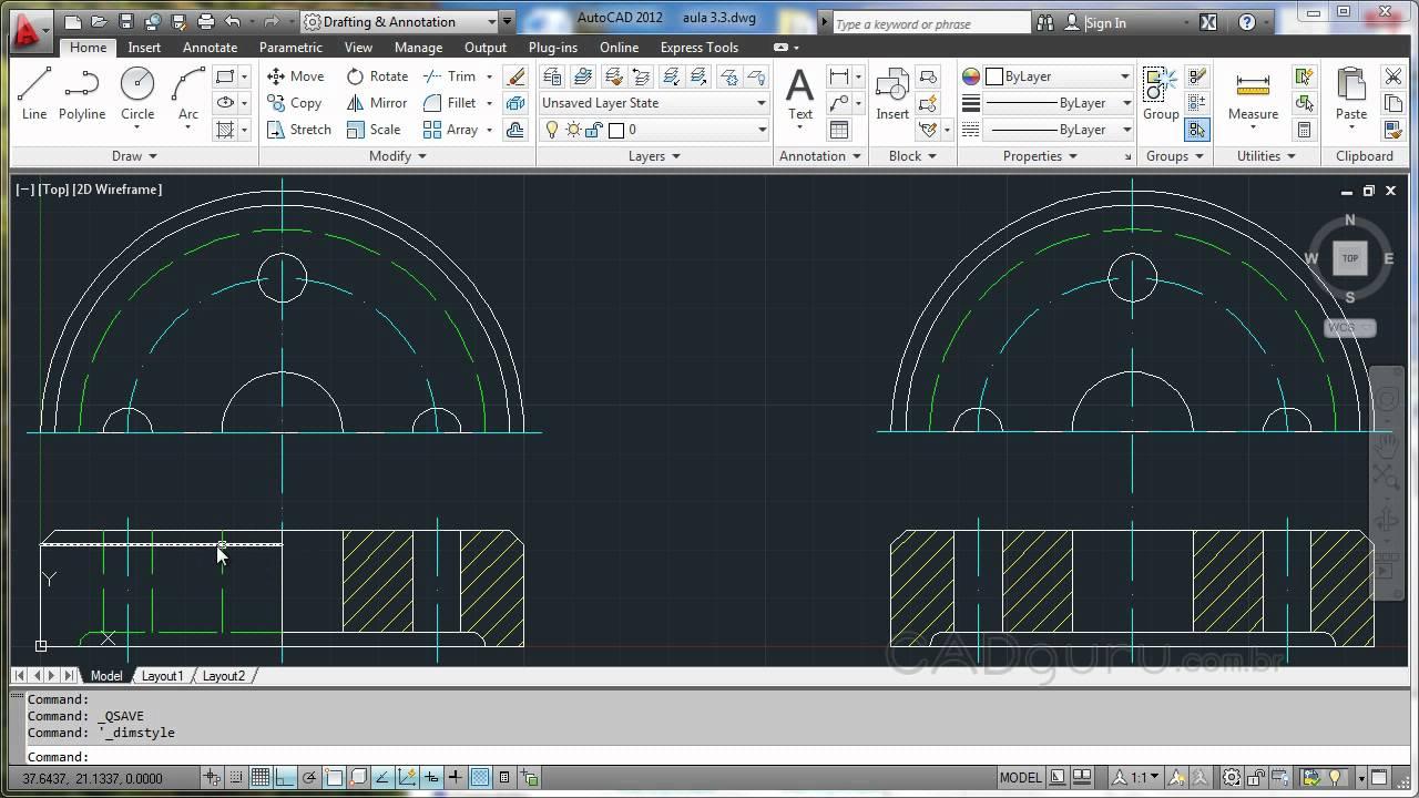 simetrica em meio corte