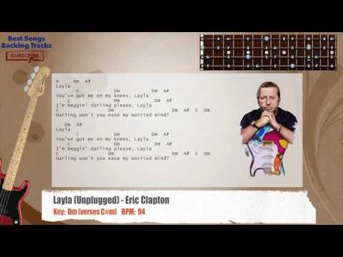 Layla (Unplugged) - Eric Clapton Bass Backing Track with chords and lyrics