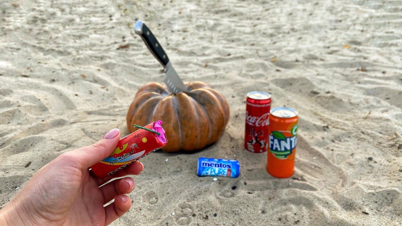 Experiment: Cola, Fanta VS Mentos and Pumpkin. Huge Explosion