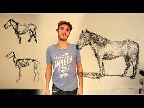 Comment dessiner un cheval tutorial dessin youtube - Dessiner facilement un cheval ...