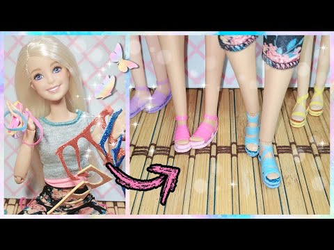 How to make sandals for Barbie dolls with foami and elastic bands/ DIY doll shoes/ Crafts for Barbie