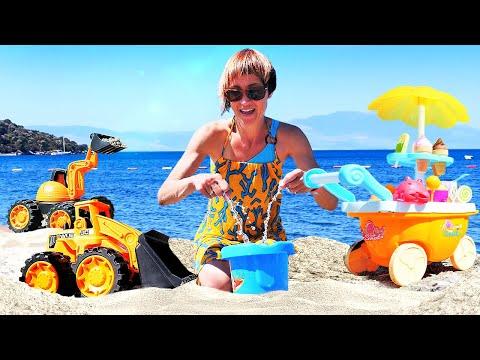 Машинки на пляже и Маша Капуки. Видео и игры для детей в песочницу