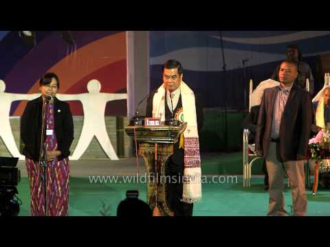His Excellency U Thar Aye delivers speech at Sangai Festival'13