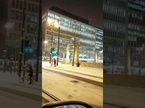 Manchester City Centre Town Hall Deansgate Metro University Snow