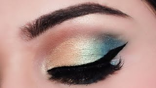 आई मेकअप कैसे करें How To Apply Eyeshadow In Hindi For Beginners Easy Green Gold Eye Makeup