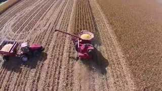 corn harvest 2014 in central illinois case ih 2388 magnum drone