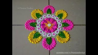 Very easy, small and quick rangoli using bangles | Easy rangoli designs by Poonam Borkar