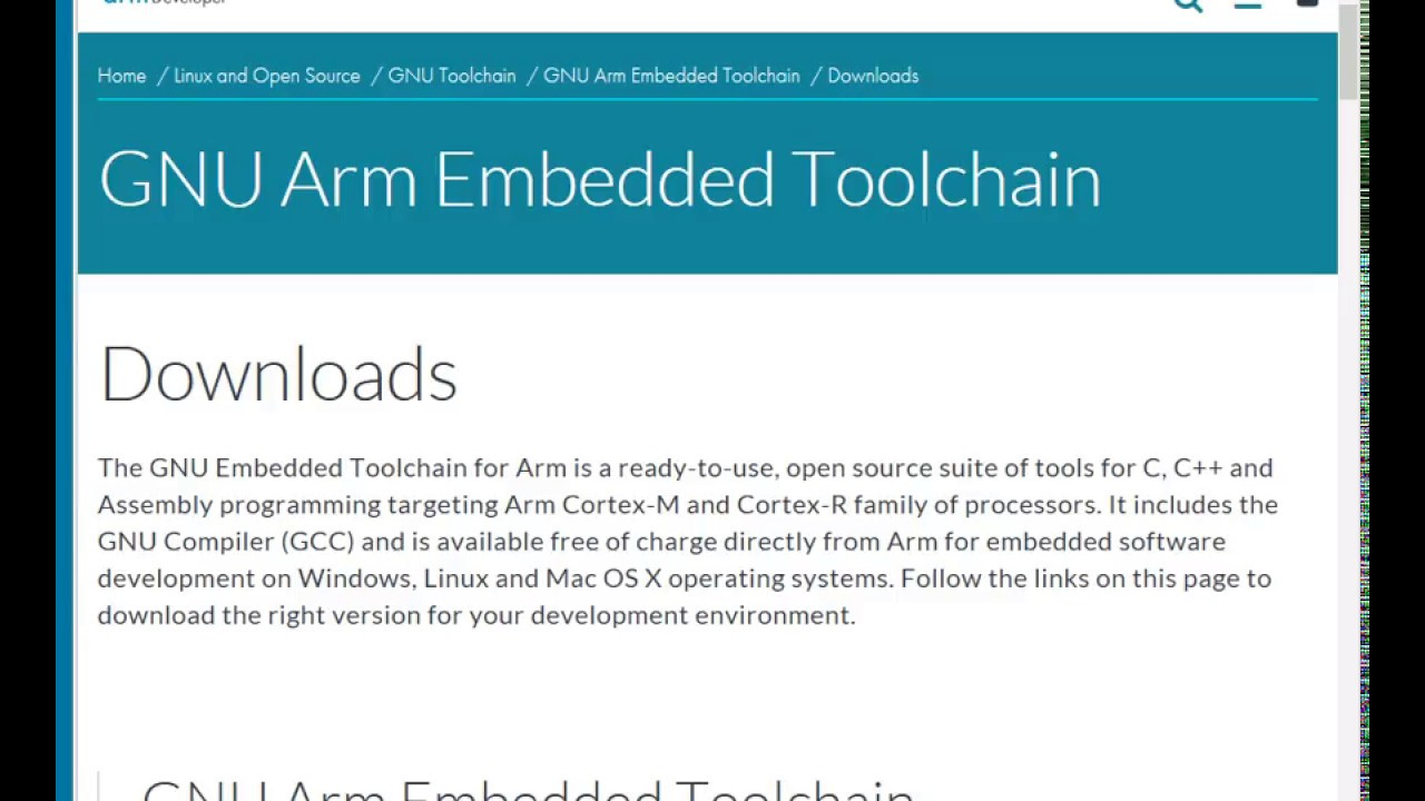 GNU Arm Embedded Toolchain for windows download