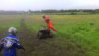Slinging mud about on quad bikes in Bellshill Scotland