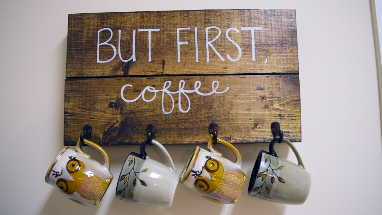 But First Coffee Mug Holder Diy Wooden Sign