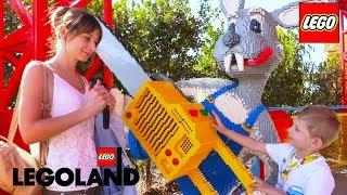 Влог Даня в Парке развлечений для детей Леголенд. Аттракционы, Тунели с Монстрами