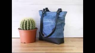 Handgemaakte tas van spijkerbroek en hergebruikt leer