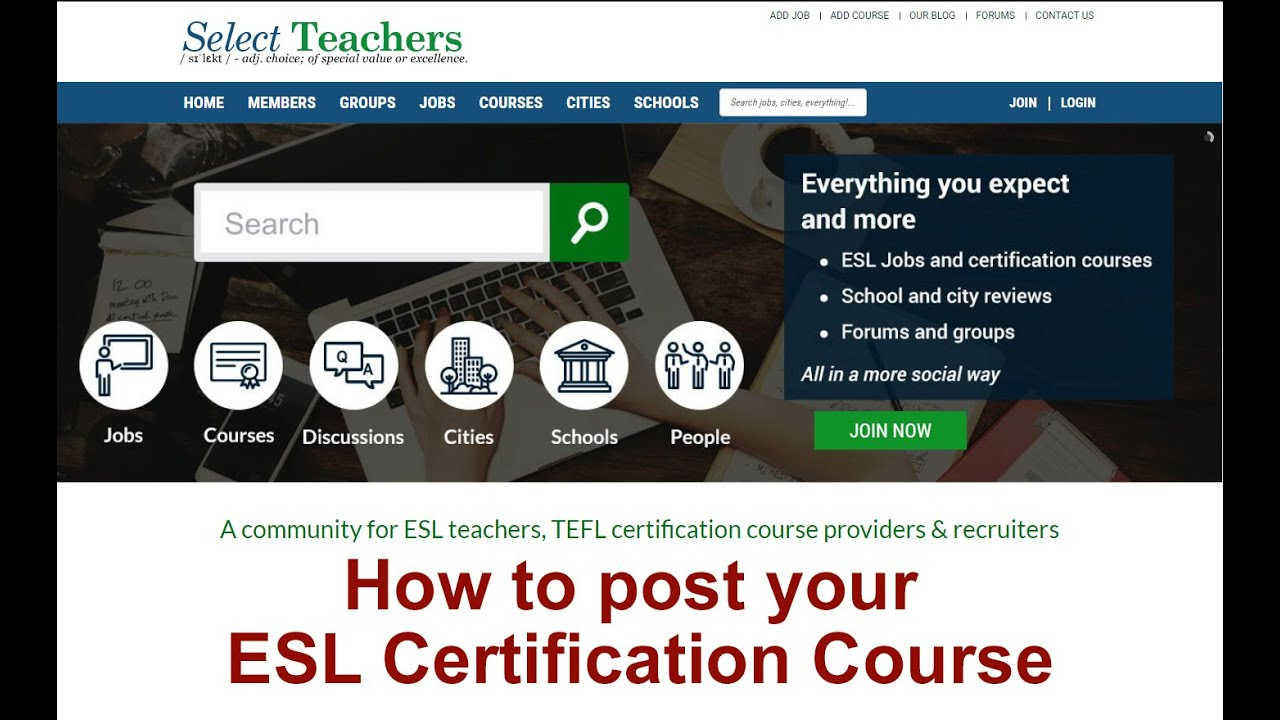 How to add an ESL certification course to Select Teachers - YouTube