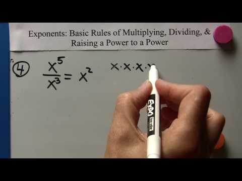 Algebra I: Exponent Basics: Multiplying, Dividing Monomials And Raising A Power To A Power