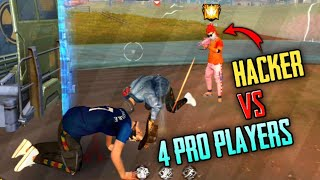 Hacker😈 vs 4 pro players clash squad rank free fire battlegrounds🔥