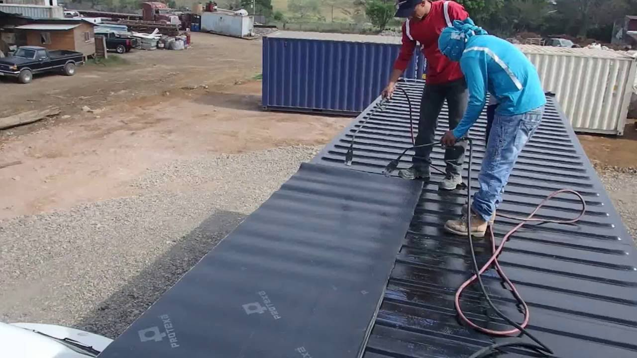 Tar Roof On A Shipping Container Youtube