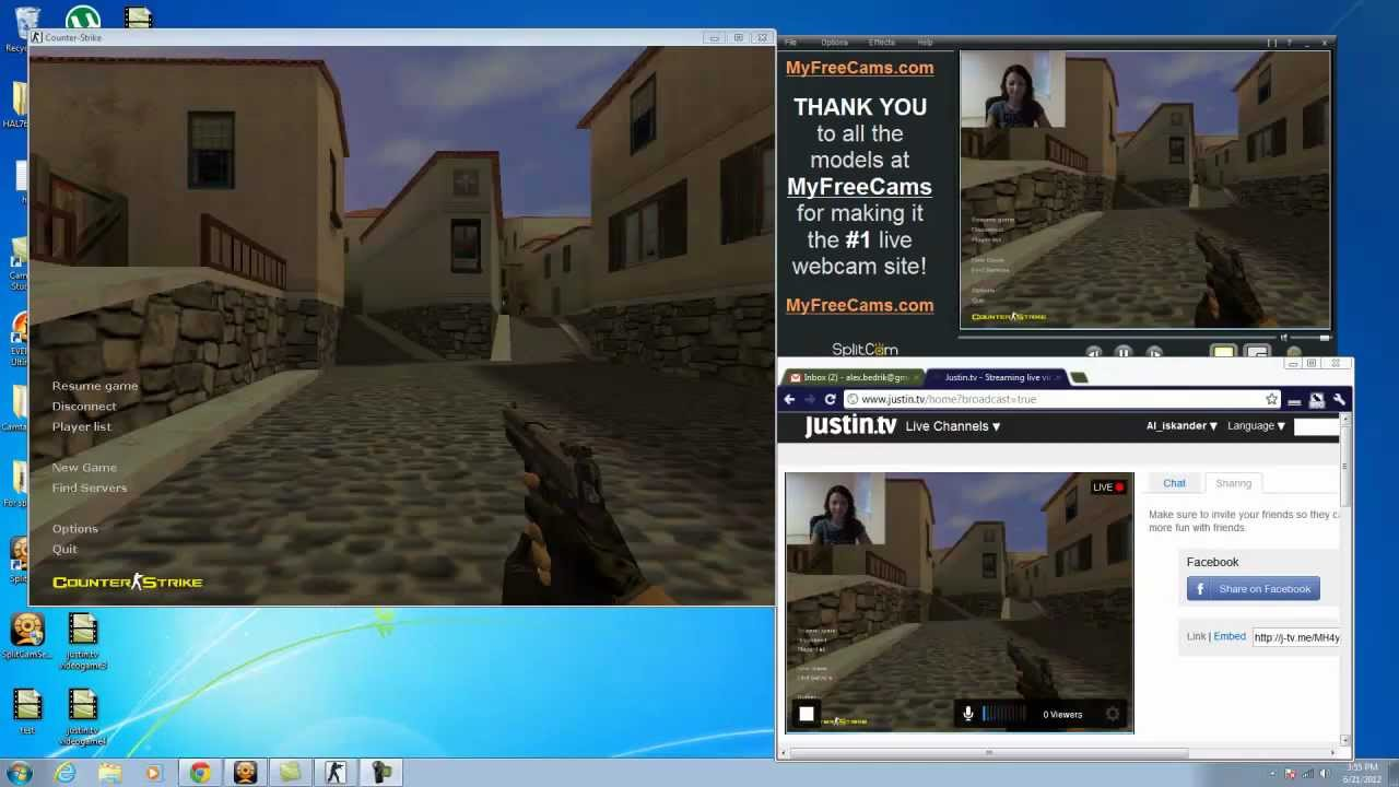 Broadcasting game on Justin.tv with the SplitCam - YouTube