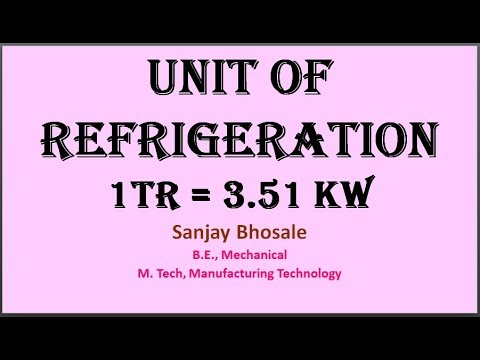 Unit of Refrigeration (1TR = 3.51 kW) in Hindi