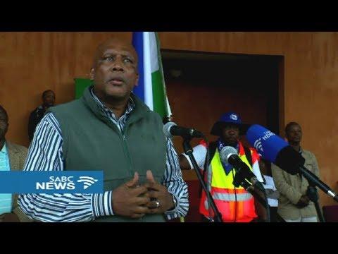 Letsie III of Lesotho thanks participants in the Moshoeshoe walk