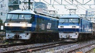 【映像メモ】貨物列車を追い抜く貨物列車:草津〔2〕EF210-107新色!  巛巛