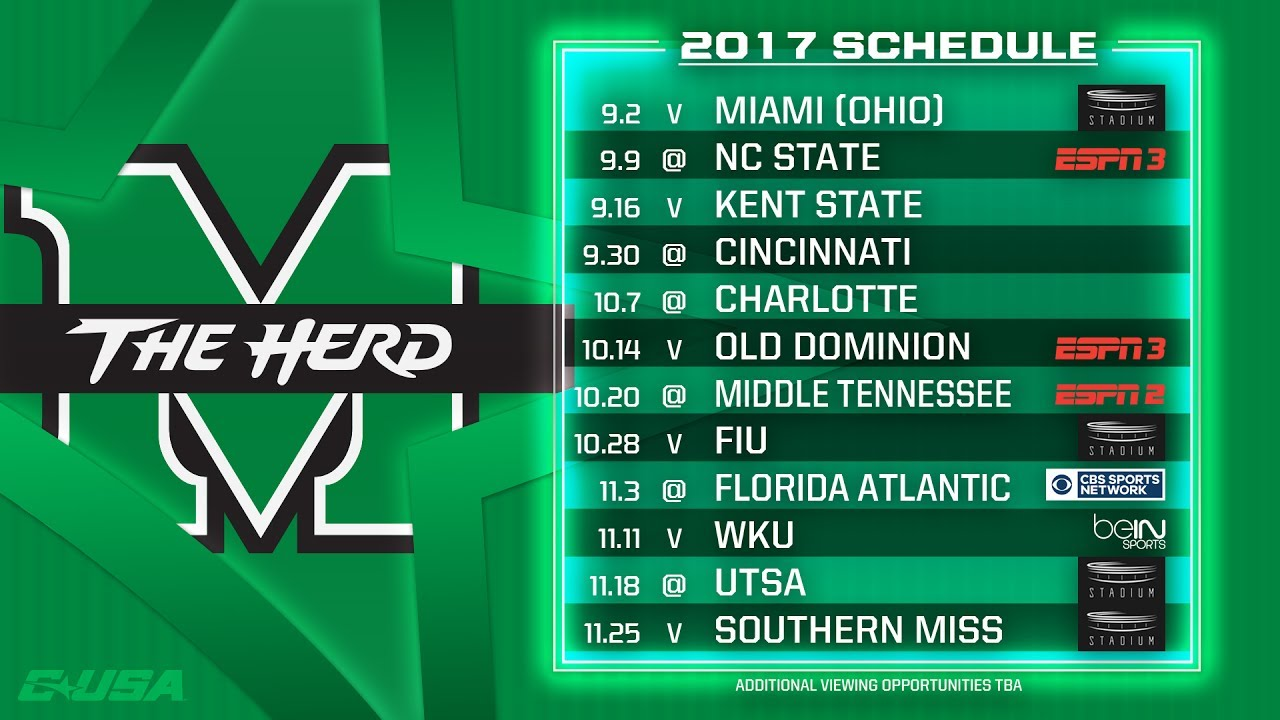 Marshall Thundering Herd 2017 C Usa Football Kickoff Youtube