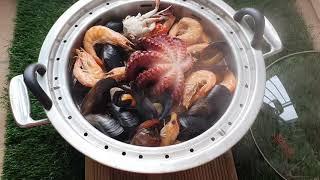 캠핑요리 해물찜 홍합탕 쉬젤웰빙쿠커 창신금속 스탠찜기 …