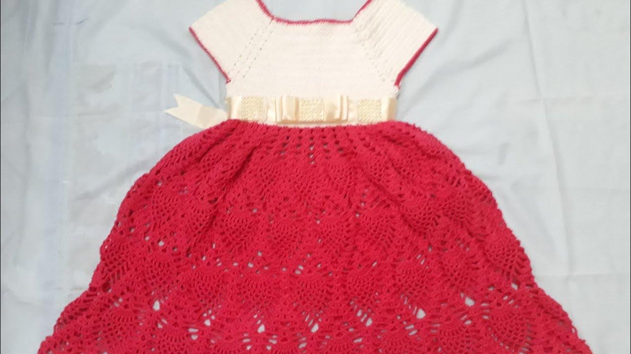 Vestido De Crochê Ponto De Pinha Para Princesa De 5 A 6 Anos