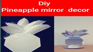 DIY DOLLAR TREE PINEAPPLE MIRROR DECOR/ PINEAPPLE WALL SCONES/WALL MIRROR /VANITY TOP DISPLAY MIRROR