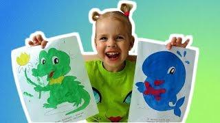 Aprende colores con Pinturas de dedos y colorantes. Video educativo para niños y niños pequeños