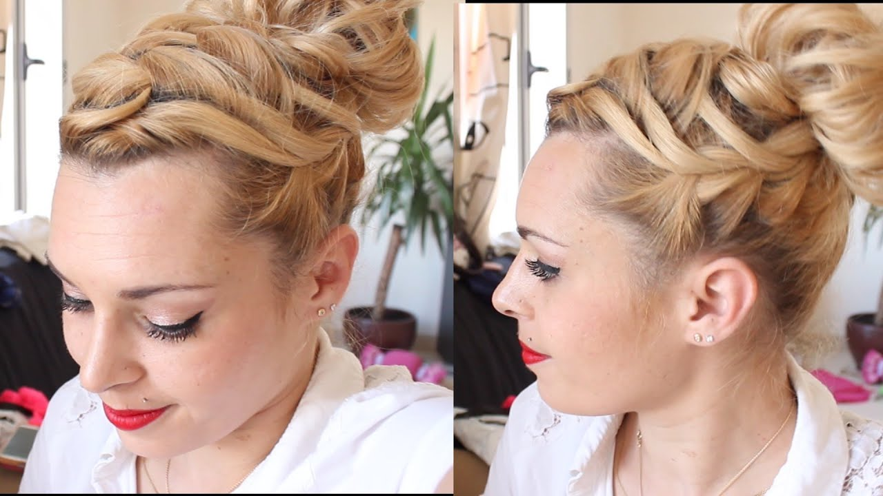 tuto coiffure tresse cascade et chignon bun cheveux mi longs youtube. Black Bedroom Furniture Sets. Home Design Ideas