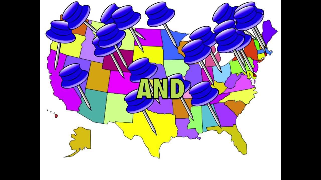50 State Capitals Song with US Map YouTube