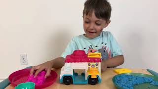 Zack plays Ice Cream Truck with Kinetic Sand Truck Toy