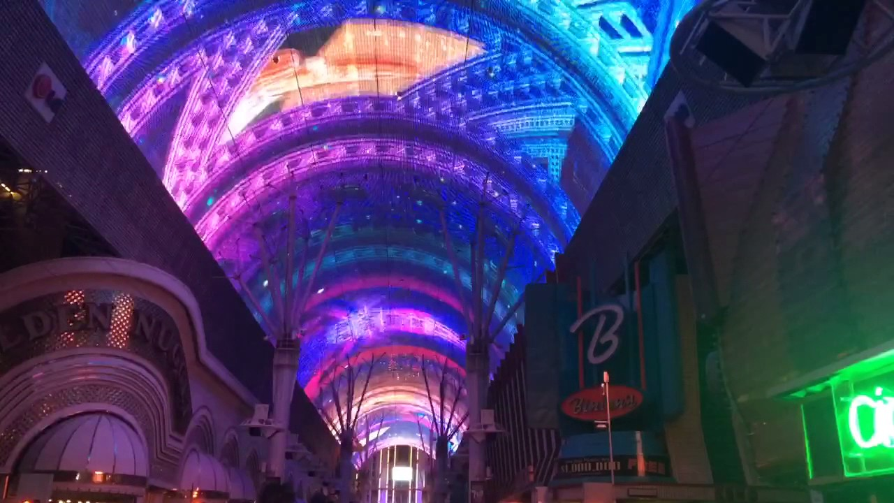 Amazing Light Show With Music On Fremont Street In Downtown Las Vegas 2017
