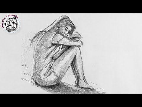 How to draw a sad girl step by step with pencil (spanish narrated)