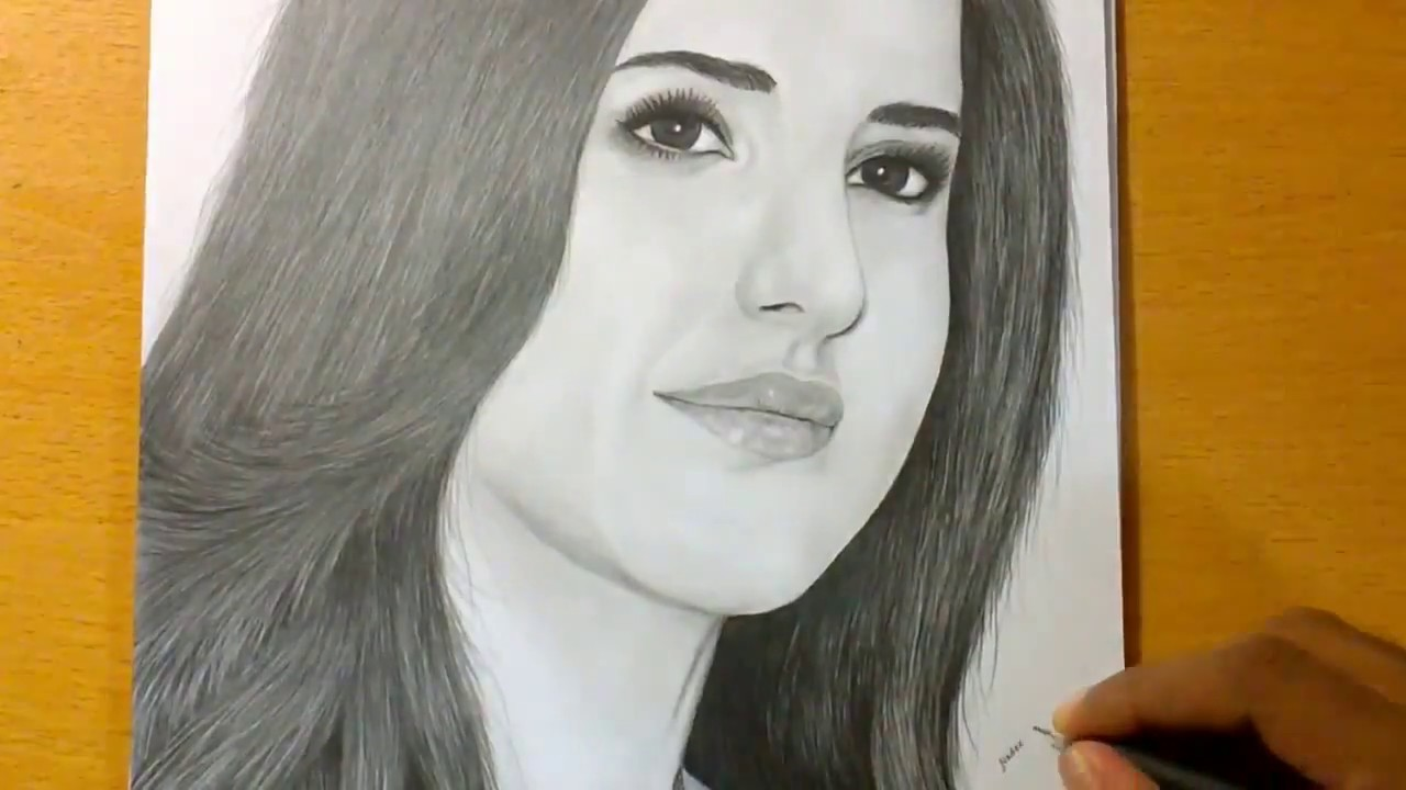 Pencil drawing of bollywood actress katrina kaif