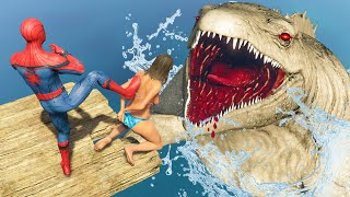 GTA V Crazy Ragdolls  SPIDERMAN FOUND SEA MONSTER The Mosasaurus Dinosaur #6 (Euphoria Physics)