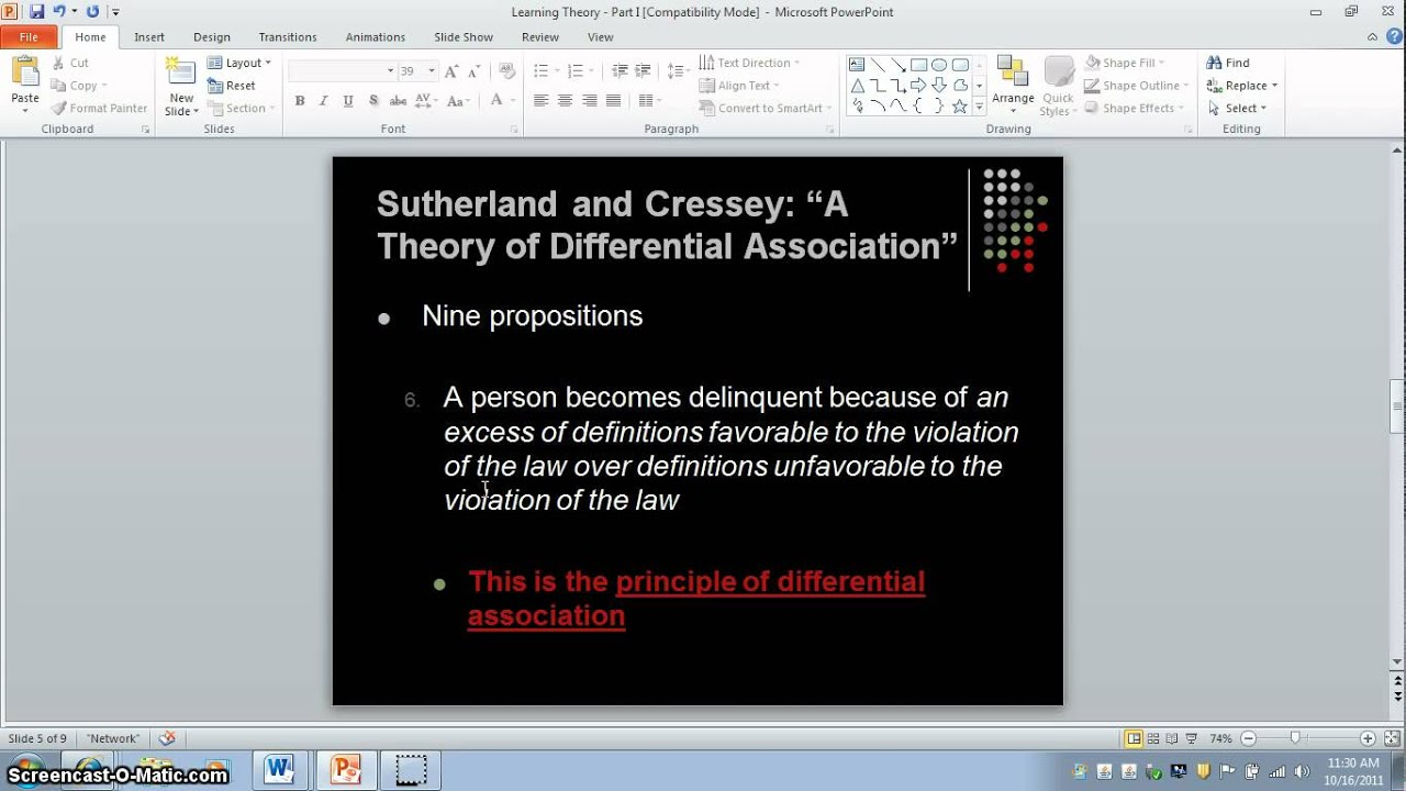 edwin sutherland theory The differential association theory criminology essay print reference this published: 23rd march this theory was first discovered by edwin sutherland the fourth factor from sutherland's theory is that learning criminal behaviour involves learning specific techniques.