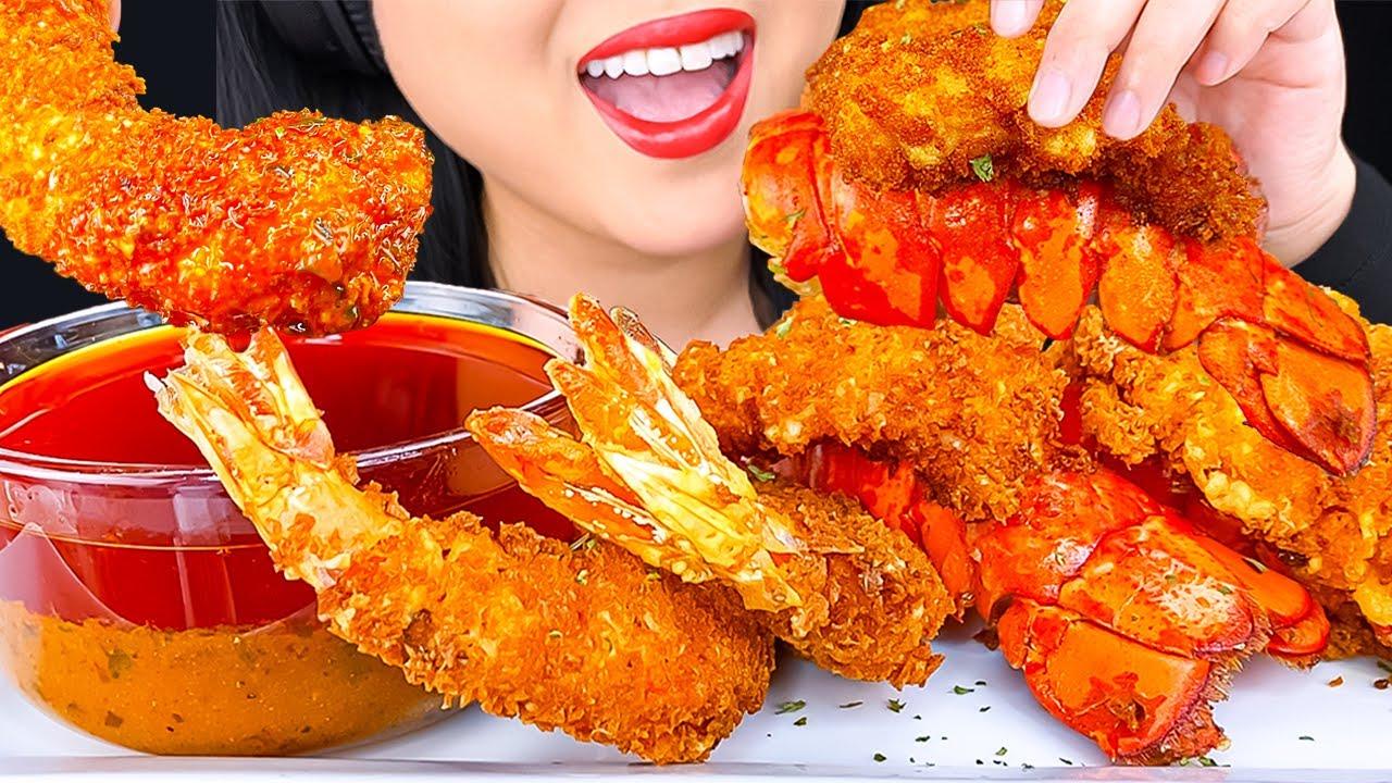 ASMR FRIED LOBSTER & JUMBO SHRIMP SEAFOOD BOIL NASHVILLE HOT SAUCE MUKBANG | Eating Show | ASMR Phan