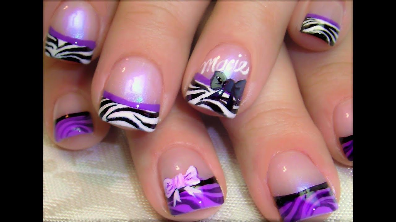 Purple Zebra Tip Nails | Black and White Nail Art Design with Bows ...